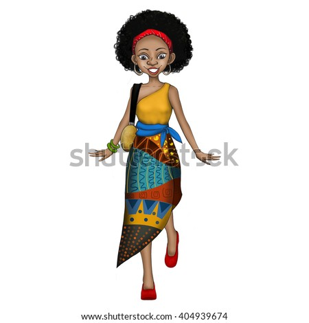 Creative Illustration and Innovative Art: A Fashion African Woman isolated on White Background. Realistic Fantastic Cartoon Style Artwork Scene, Wallpaper, Story Background, Card Design