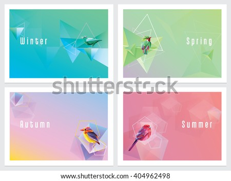 Modern colorful four seasons wallpapers with geometric shapes and birds. Winter, spring, autumn and summer concept background templates