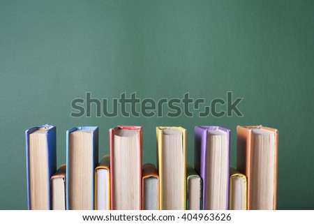 Stack of colorful books. Education background. Back to school. Copy space for text. #404963626