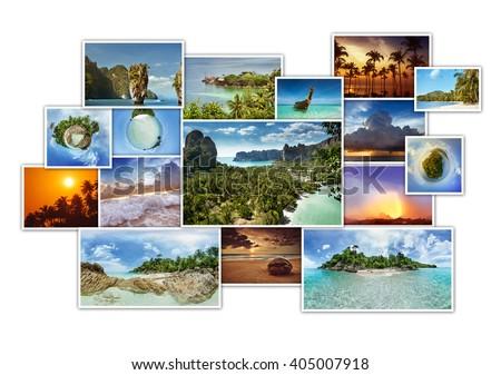 Tropic photos collage. Photo album concept