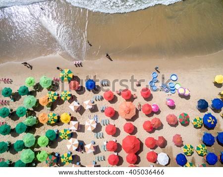 Top View of Umbrellas in a Beach #405036466