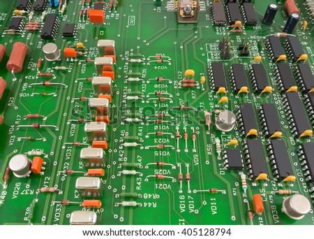 Closeup of electronic circuit board  #405128794