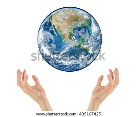 Concept of tourism, religion and ecology. Planet earth in the hands isolated on white background. NASA #405167425