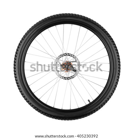 wheel of a mountain bike isolated on white background  #405230392