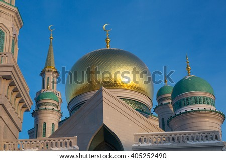Domes of the Cathedral Mosque in Moscow #405252490
