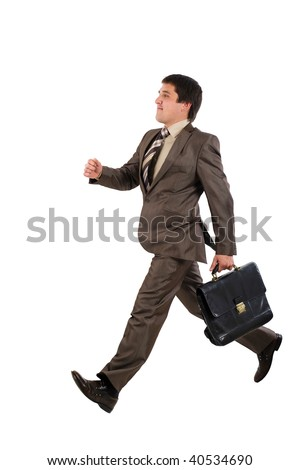 Businessman running with a briefcase isolated over white background #40534690