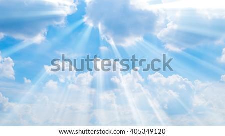 Sunbeam through the haze on blue sky