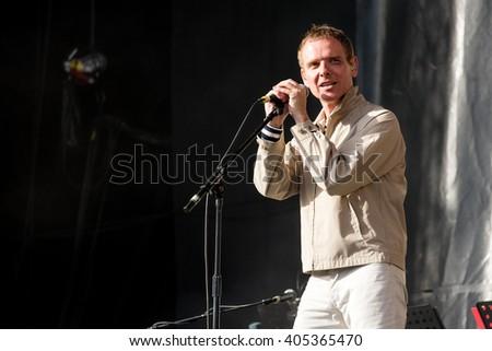 Glastonbury, Somerset, UK - June 28, 2015 - Stuart Murdoch of Belle and Sebastian playing Glastonbury Festival's Other Stage #405365470