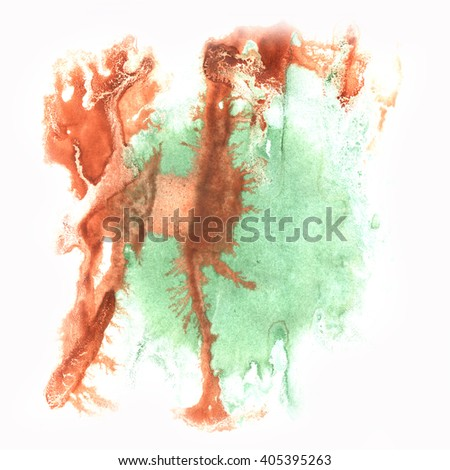 ink splatter watercolour dye liquid watercolor macro spot blotch brown green texture isolated on white background #405395263