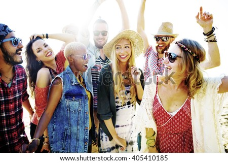 Teenagers Friends Beach Party Happiness Concept #405410185