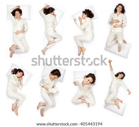 beautiful young woman sleep pose composition set isolated on white Royalty-Free Stock Photo #405443194