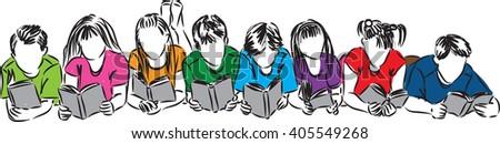 children reading books illustration #405549268