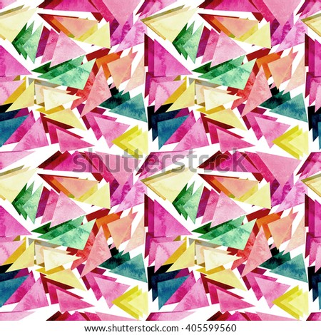 Watercolor Pink And Green Triangles Seamless Pattern #405599560