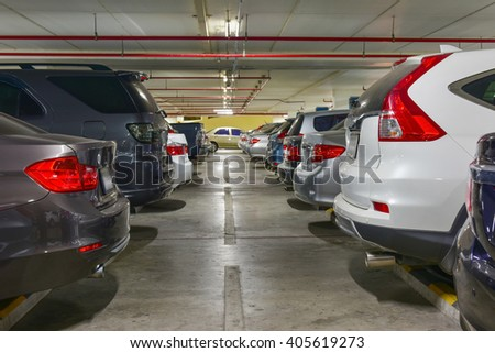 Car parking lot with white lines mark  #405619273