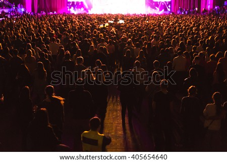 Large concert hall filled with spectators before the stage. #405654640