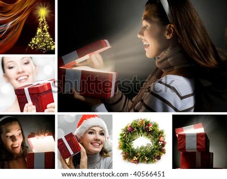 a beautifull girl opening  x-mass magic present #40566451