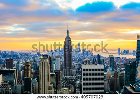 NEW YORK CITY, NY - JANUARY 2, 2016 -A classic photo of a scenic sunset with the skyscrapers of New York City from Rockefeller Center. #405707029