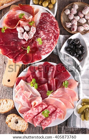 assorted meat and sausage #405873760