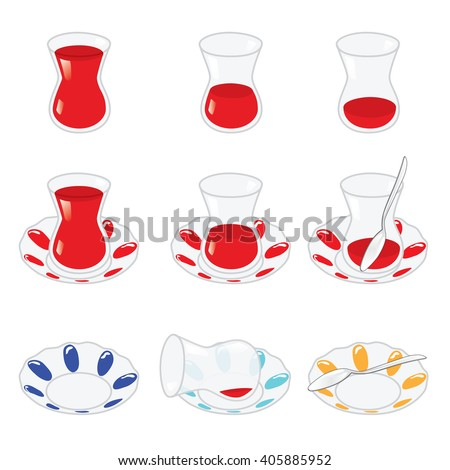 Set of Turkish tea and components isolated on white. Vector, illustration.