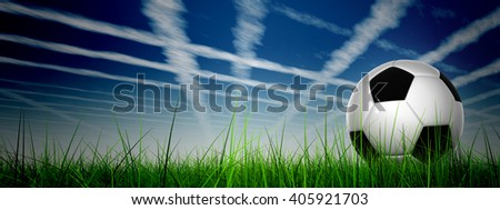 3D illustration of conceptual soccer ball in fresh green summer or spring field grass with sky background, metaphor to sport, goal, competition, play, team, fun, stadium, meadow, activity soccerball #405921703