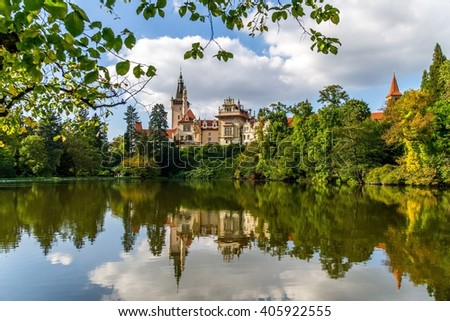 Beautiful Castle reflecting in a lake in Prague Czech Republic #405922555