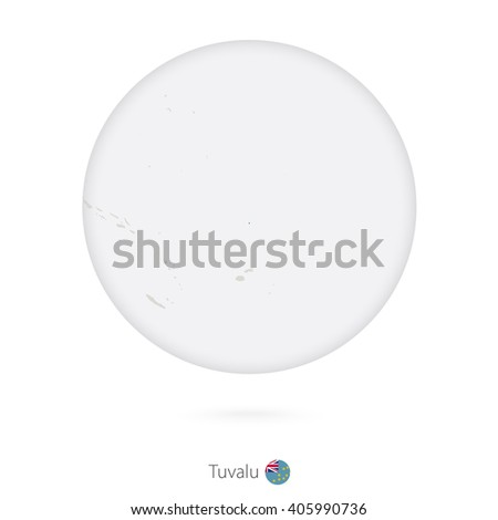 Map of Tuvalu and national flag in a circle. Tuvalu map contour with flag. Vector Illustration. #405990736