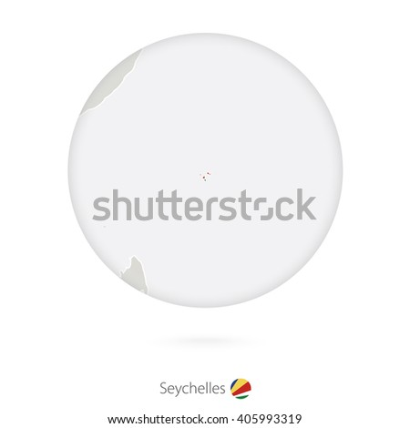 Map of Seychelles and national flag in a circle. Seychelles map contour with flag. Vector Illustration. #405993319
