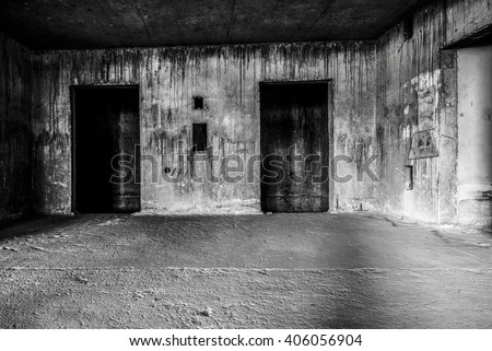 Abandoned building ghost living place with two doors, darkness horror and halloween background concept