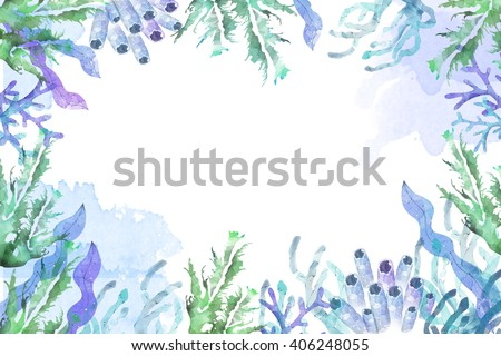 Creative Illustration and Innovative Art: Frame of Sea Plants, Leaves, Corals, Water Color Style. Realistic Fantastic Cartoon Style Artwork Scene, Wallpaper, Story Background, Card Design