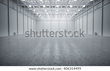 Clean White empty warehouse 3D rendering #406314499
