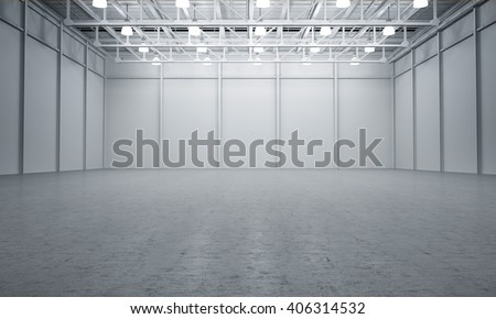 Clean White empty warehouse 3D rendering #406314532