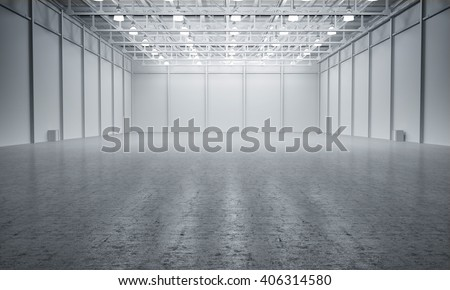 Clean White empty warehouse 3D rendering #406314580