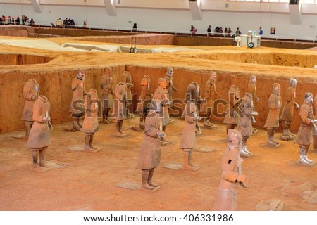 XIAN, CHINA - MAR 29, 2016: Terracotta Army (Soldier and horse funerary statues),  sculptures depicting the armies of Qin Shi Huang, the first Emperor of China. UNESCO World Heritage #406331986