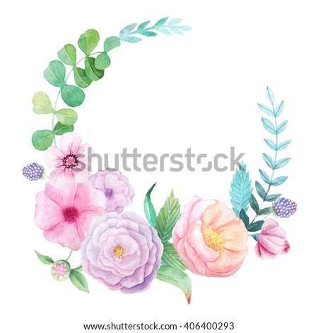 Floral frame with hand painted watercolor flowers, leaves and branches in pink and green colors. Decorative wreath perfect for card making, wedding invitation and DIY project