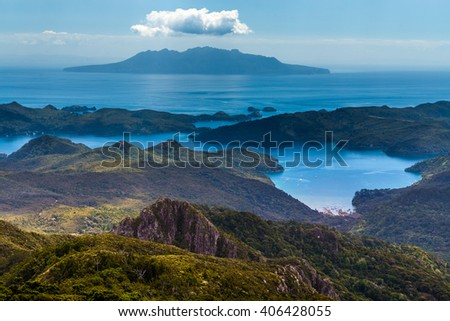 Little Barrier Islands view from mt Hobson, Great Barrier Island, New Zealand #406428055