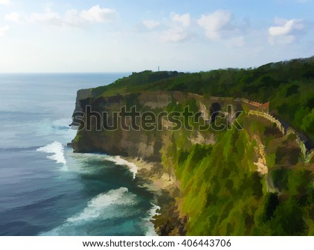Tropical island's cliff coast and oceanic wave. Uluwatu temple of Bali, Indonesia. Exotic coastline with huge sea waves. Bali seaside landscape digital illustration. Sea and sky scene poster or banner #406443706