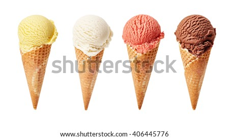 Various ice-cream scoops on white background with assorted balls of vanilla, chocolate, strawberry and butterscotch icecream in waffles. #406445776