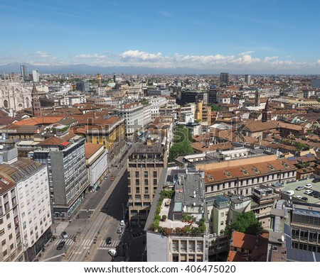 MILAN, ITALY - CIRCA APRIL 2016: Aerial view of the skyline of the city #406475020