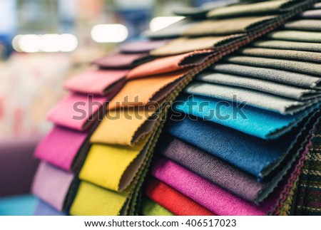 Colorful upholstery fabric samples Royalty-Free Stock Photo #406517023