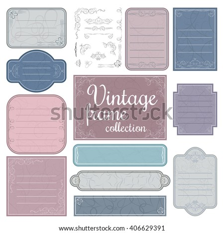 Vintage frame, label and border set with creative ornamental decoration elements. Best vector template for packaging and other design #406629391