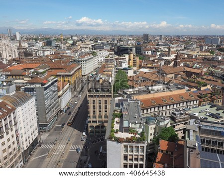 MILAN, ITALY - CIRCA APRIL 2016: Aerial view of the skyline of the city #406645438