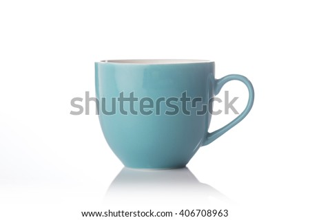 Teal color tea cup on white background. #406708963