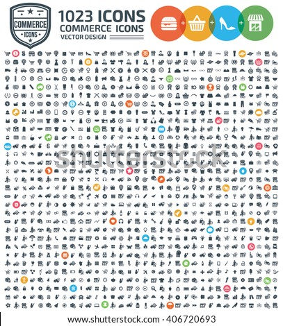 1023 Icons,Commerce,shopping,marketing,sale,buy,business icon set,clean vector #406720693
