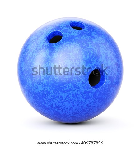 Bowling ball with blue marble texture isolated on white background. 3D illustration #406787896