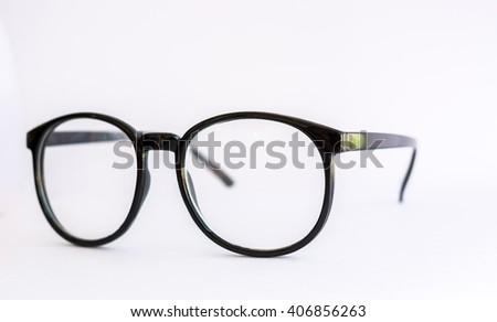 Black Eye Glasses Isolated on White #406856263