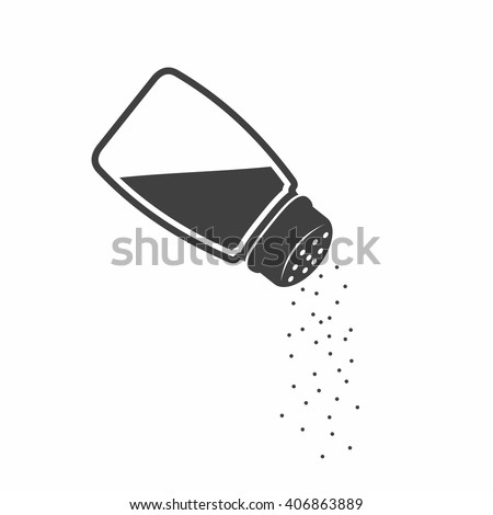 Salt shaker icon in flat style isolated on white background.  Baking and cooking ingredient. Food seasoning. Kitchen utensils salt shaker. Vector illustration Royalty-Free Stock Photo #406863889
