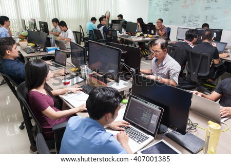 Asian Software Developers Business People Sitting Desk Working Laptop Computer Businesspeople Team Real Office #407001385