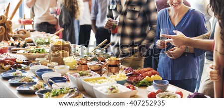 Food Buffet Catering Dining Eating Party Sharing Concept #407252935