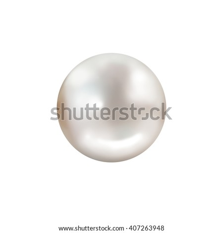Single white pearl isolated on white background