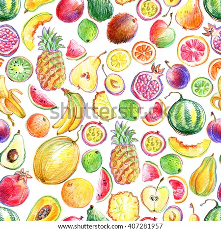 Seamless pattern with hand drawn by color pencil bright stylish fruits #407281957